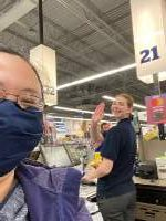 Jenna Lubahn snaps a quick selfie with essential worker Mackensie Hamstra before leaving Meijer.
