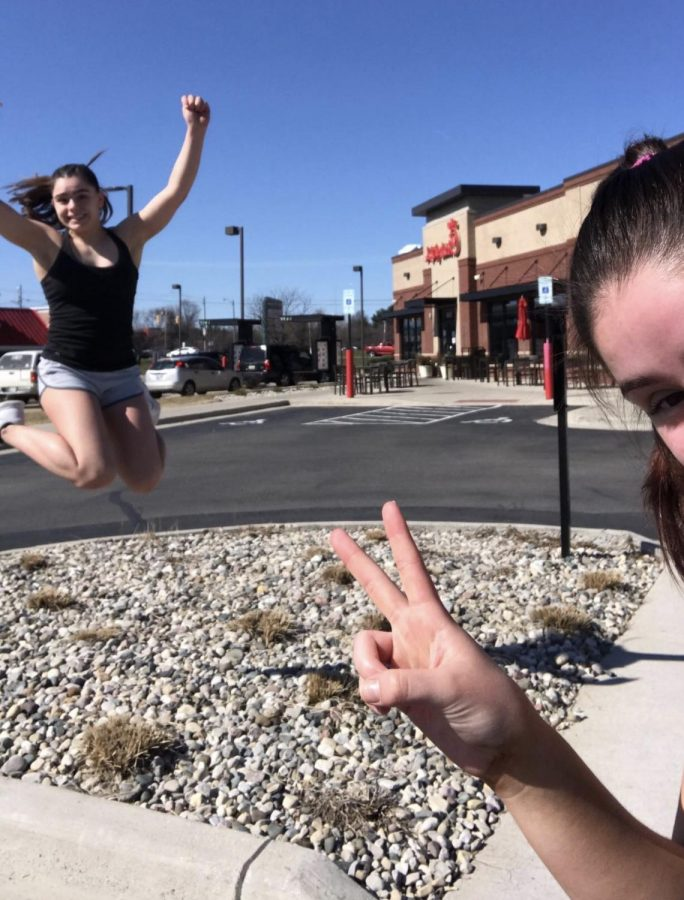Alexa Leason and her sister Izzy stopping by Chick-fil-A during their strenuous run.