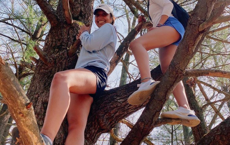 Audrey and her sister enjoy a hike while practicing social distancing.