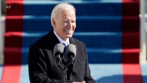 President Biden gives a speech on his inauguration day at the US capitol.
