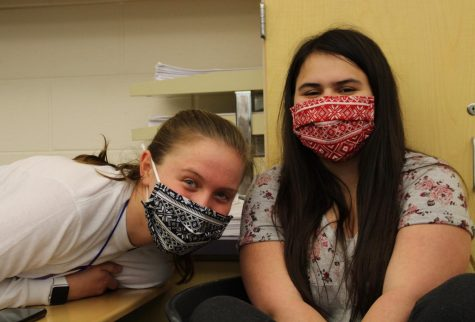"During free time in A.P. United States History, sophomores Natalia Quigley and Anna Fanco chat up a storm. When asked about what she likes about Caledonia, Natalia expressed, ""Most of the students are pretty cool, which makes class time somewhat fun."""
