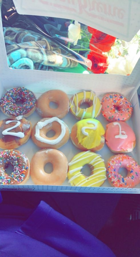 Pictured is an example of the doughnuts that Krispy Kreme was handing out to seniors for free